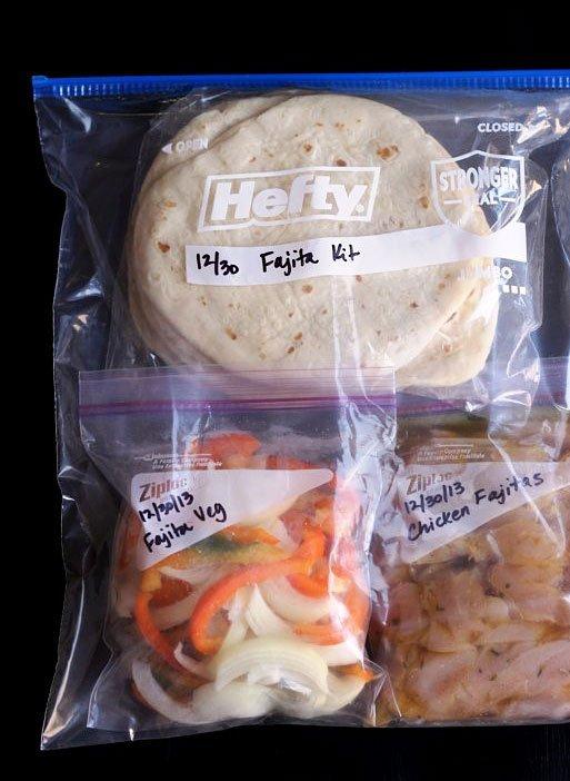 Fajita Dinner Kits | 25+ freezer meal ideas