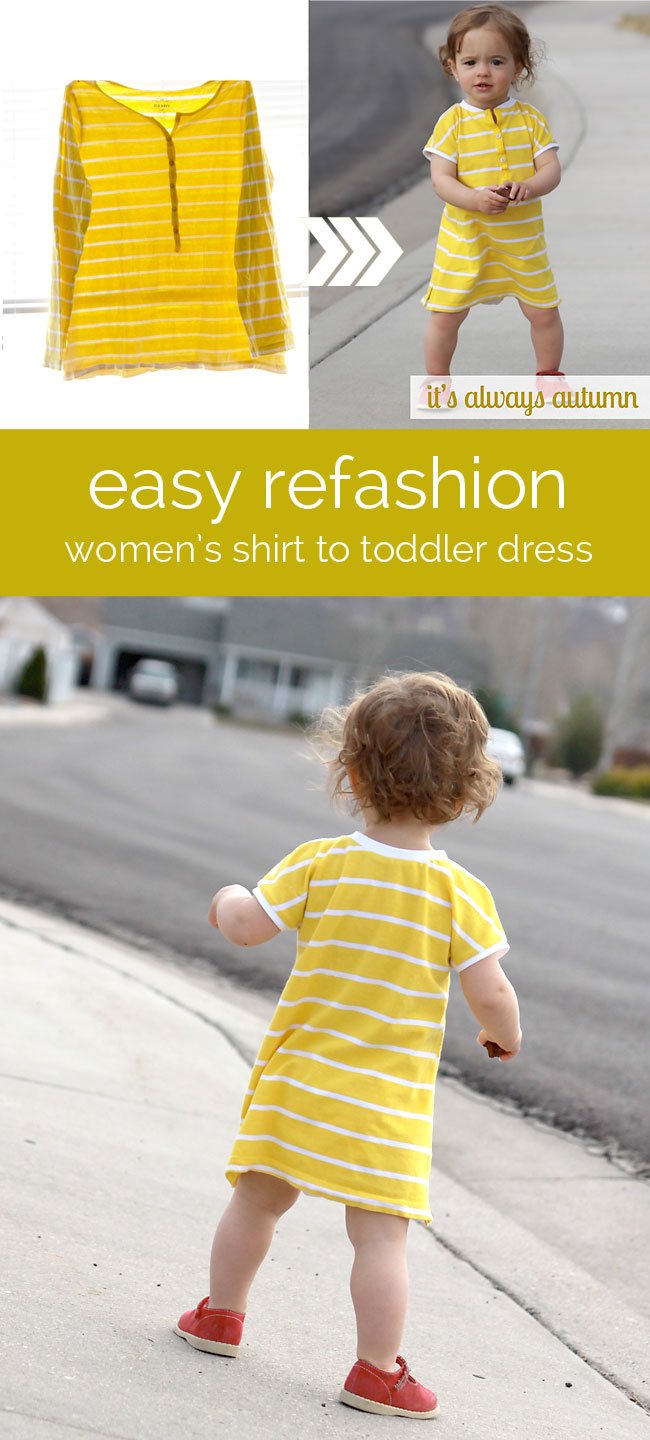 Sew a baby dress from a woman's shirt | 25+ easy sewing projects