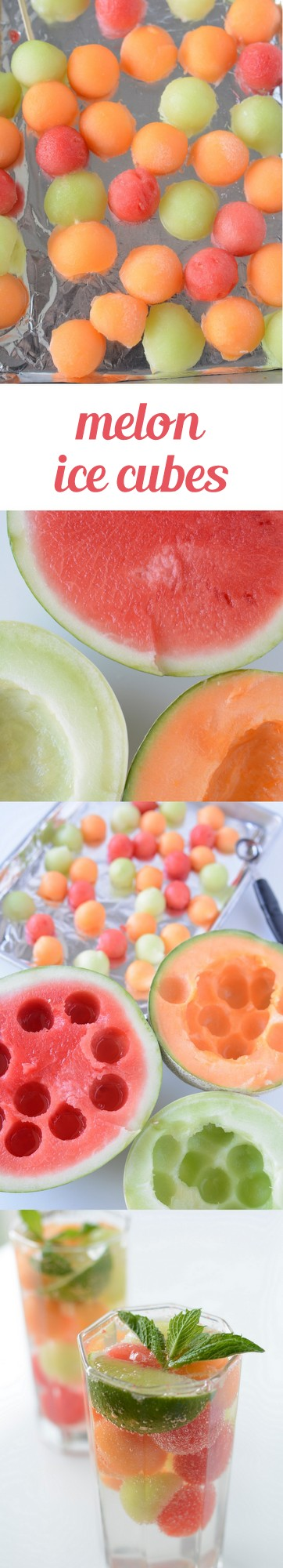 Melon Ice cubes are a great way to add some delicious color and flavor to your drinks for the summer. #watermelon #honeydew #cantelope #icecubes #summerrecipes