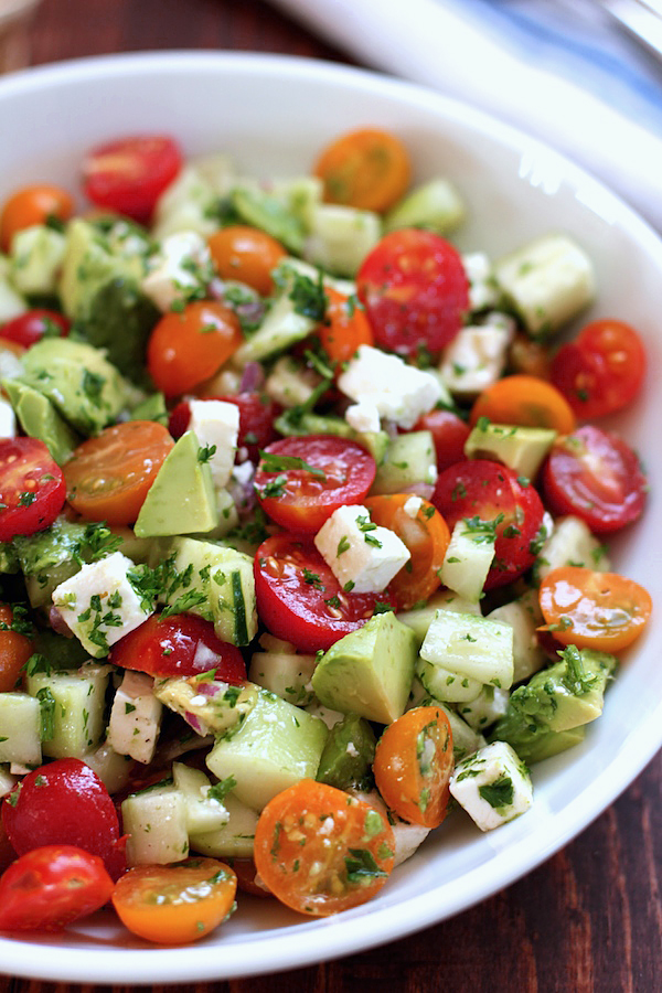 tomato cucumber avocado salad | 25+ fresh tomato recipes