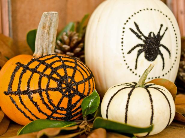 Black-Glittered pumpkins | 25+ no-carve pumpkin ideas