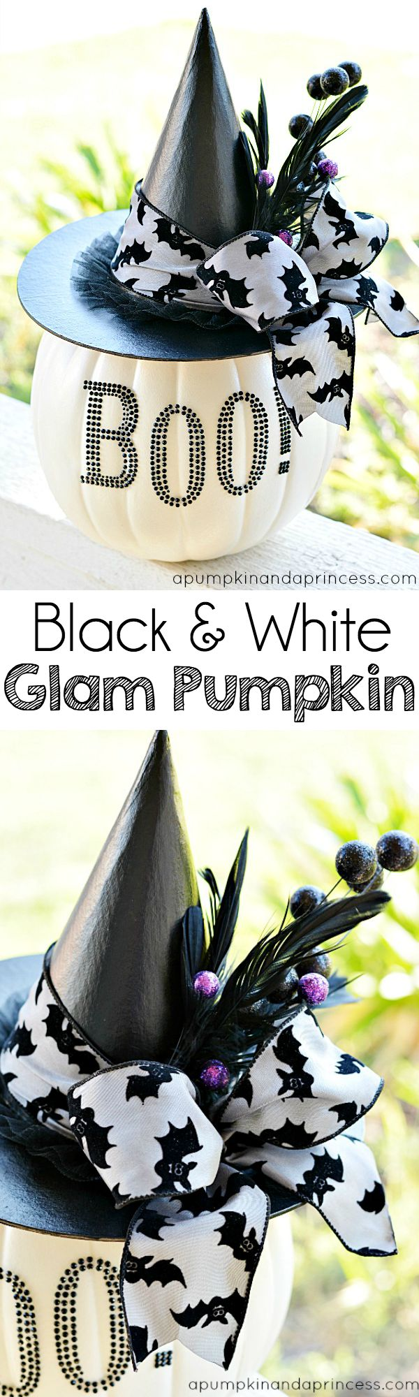 Black and White Glam pumpkin | 25+ no-carve pumpkin ideas