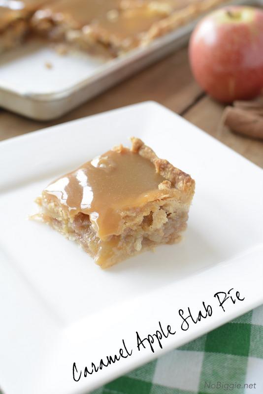 Caramel Apple Slab Pie bars - this recipe is amazing! Get it on NoBiggie.net