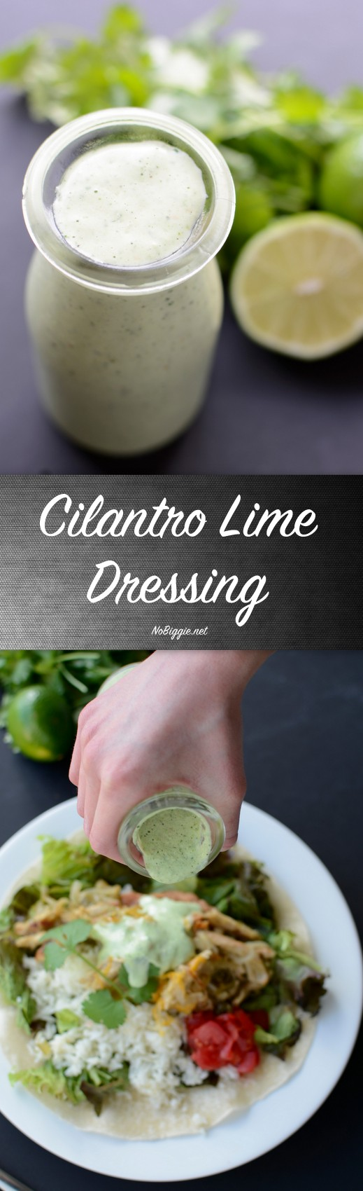 Creamy Cilantro Lime Dressing - a must have dressing that will liven up your Mexican salads. #cilantro #creamydressing #cilantrolimedressing #saladdressing