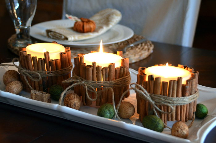 Cinnamon Stick Candles   25+ Thrifty Fall Decor Ideas
