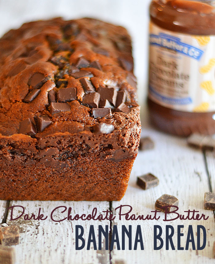 Dark chocolate peanut butter banana bread | 25+ peanut butter and chocolate desserts