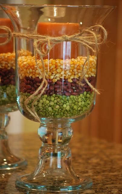 Fall Hurricane Vases   25+ Thrifty Fall Decor Ideas