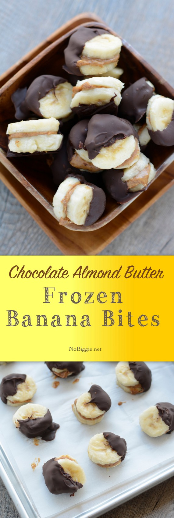Frozen Banana Bites -  Next time you need a little snack, you\'ll have to try these frozen chocolate almond butter banana bites. They are super easy to make and so tasty. # Frozenbananabites #chocolate #almondbutter #glutenfree #dairyfree #healthysnacks