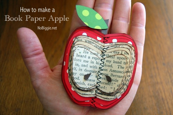 Make an apple out of book paper - 25+apple projects and kids crafts - NoBiggie.net
