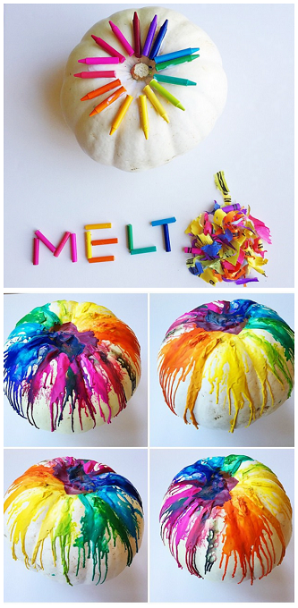 Melted Crayon Pumpkin Decorating Idea | 25+ No-carve pumpkin ideas