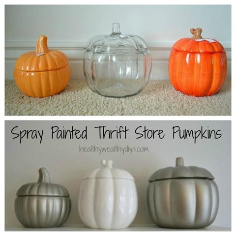 Spray Painted Thrift Store Pumpkins   25+ Thrifty Fall Decor Ideas