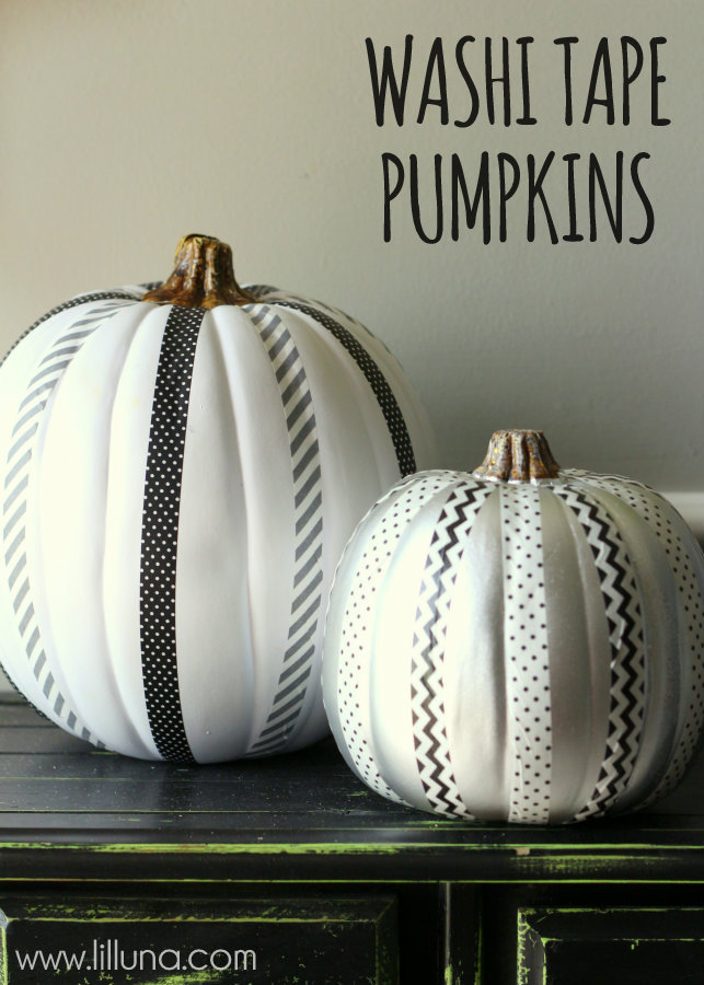 Washi Tape Pumpkins | 25+ no-carve pumpkin ideas