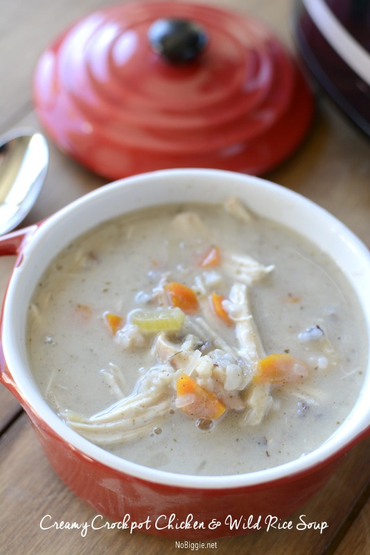 creamy crockpot chicken and wild rice soup recipe | NoBiggie.net