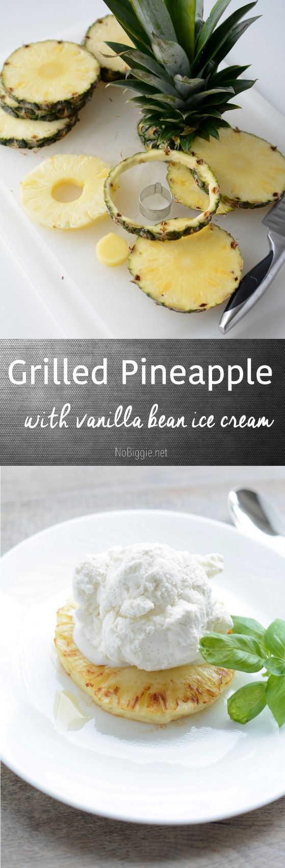 Grilled Pineapple with vanilla ice cream a delicious summer dessert that is just a match made in heaven ,  #pineapple #grilledpineapple #icecream #vanillaicecream #summerdesserts