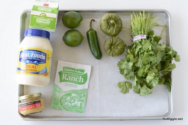 ingredients for creamy cilantro lime dressing | NoBiggie.net