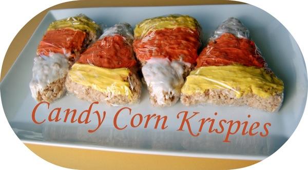 Candy Corn Rice Krispies Treats   25+ Halloween Party Food Ideas