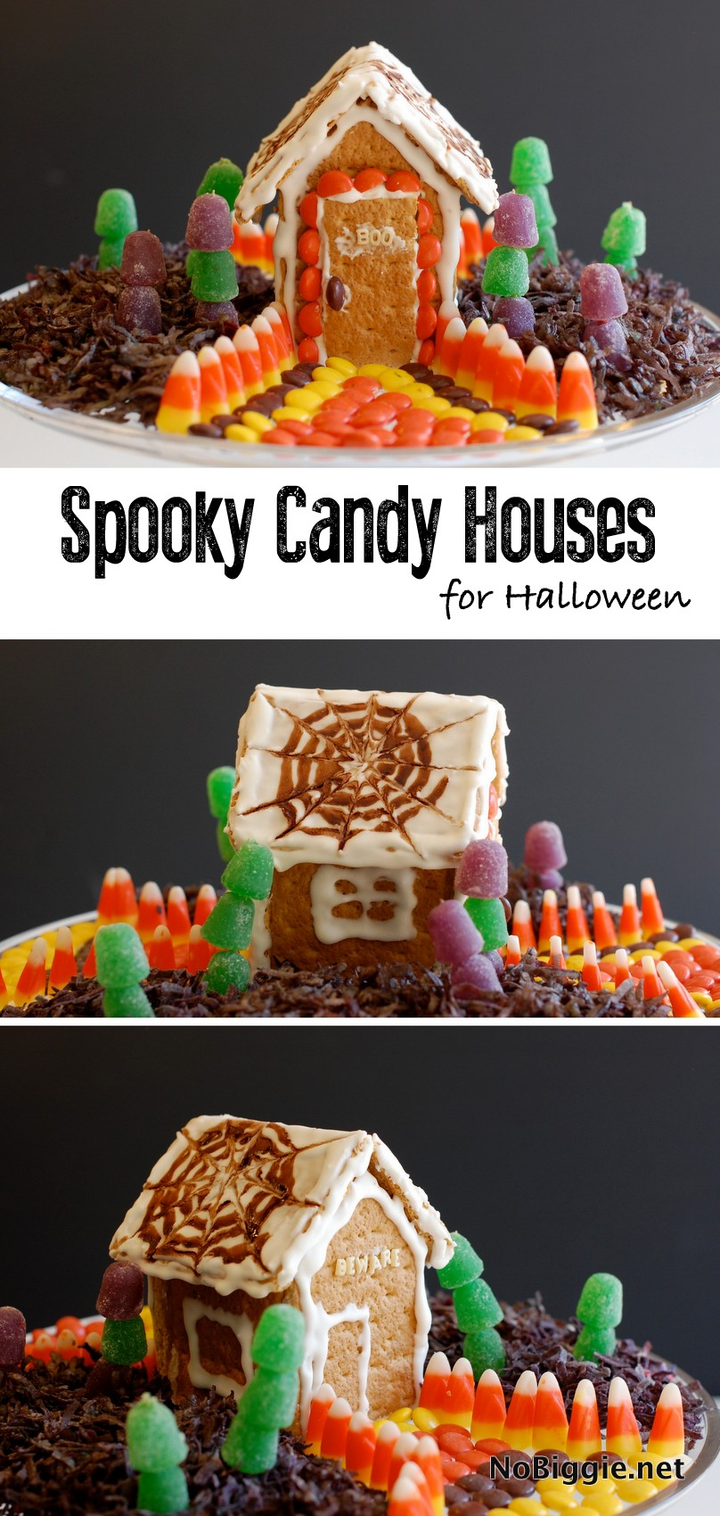 Halloween Candy House a fun and creative and edible craft for kids this Halloween. #candy #halloween #candyhouse #diytreats #halloweentreats