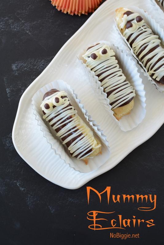 Chocolate Eclairs Mummies   25+ Halloween Party Food Ideas