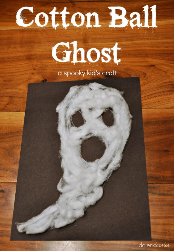 Cotton Ball Ghost | 25+ Halloween crafts for kids