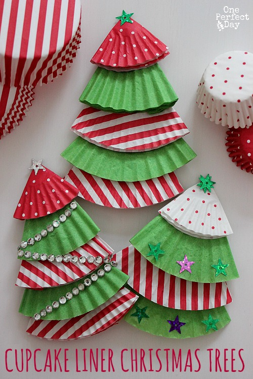 Cupcake liner Christmas Tree ornaments | 25+ ornaments kids can make