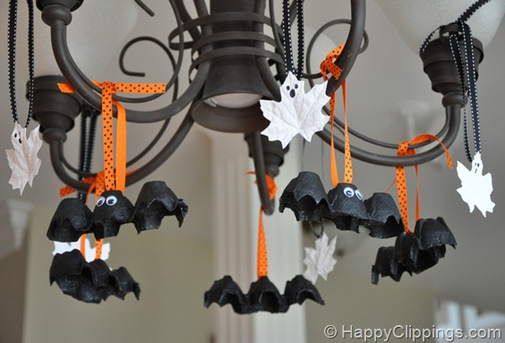 Egg Carton Bats and Ghost | 25+ Halloween crafts for kids