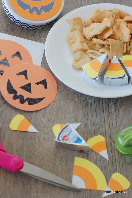 Halloween Crackers and Cheese Candy Corn Printable | 25+ Halloween Party Food Ideas