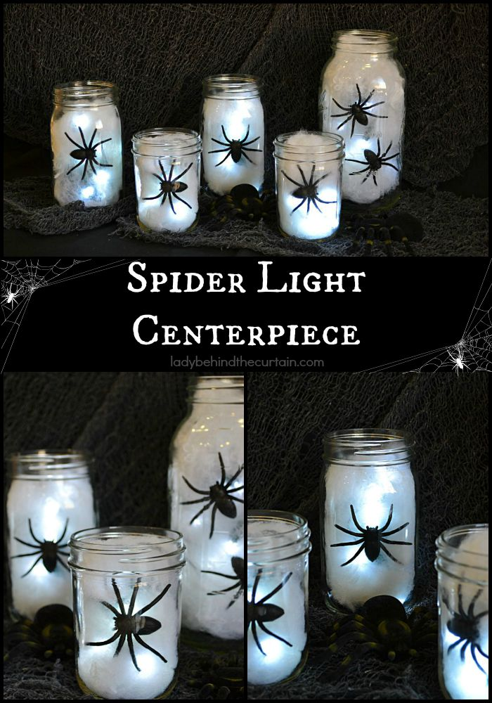 Halloween Spider Light Centerpiece | 25+ Halloween party decor ideas