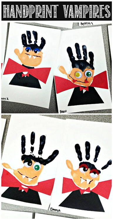Handprint vampire | 25+ Halloween crafts for kids