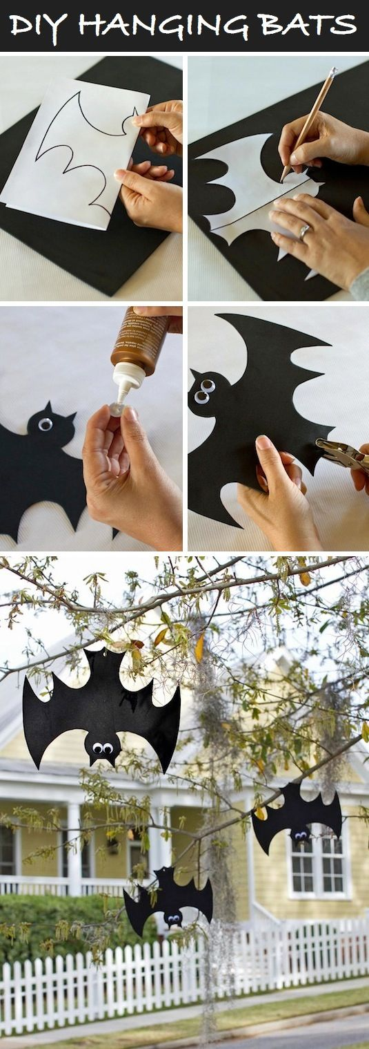 Hanging bats | 25+ Halloween crafts for kids