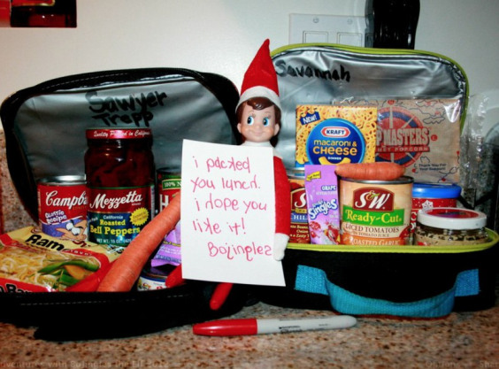 Packed you lunch | 25+ elf on the shelf ideas