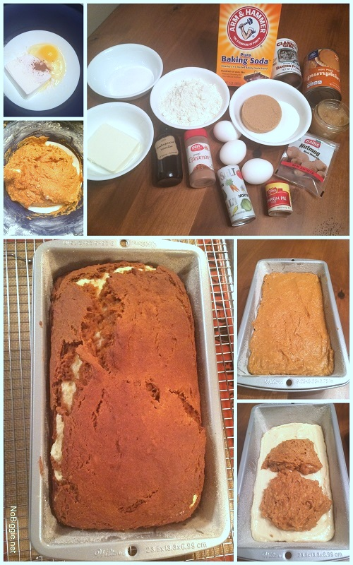 Pumpkin bread with spiced cream cheese swirl - NoBiggie.net
