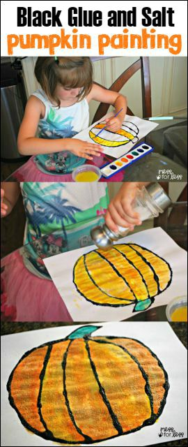 Pumpkin salt painting | 25+ Halloween crafts for kids