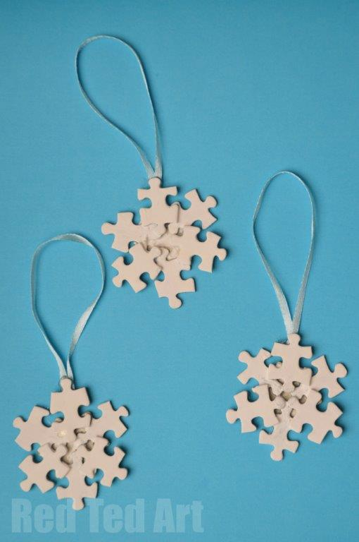 Puzzle Snowflake Ornament | 25+ ornaments kids can make