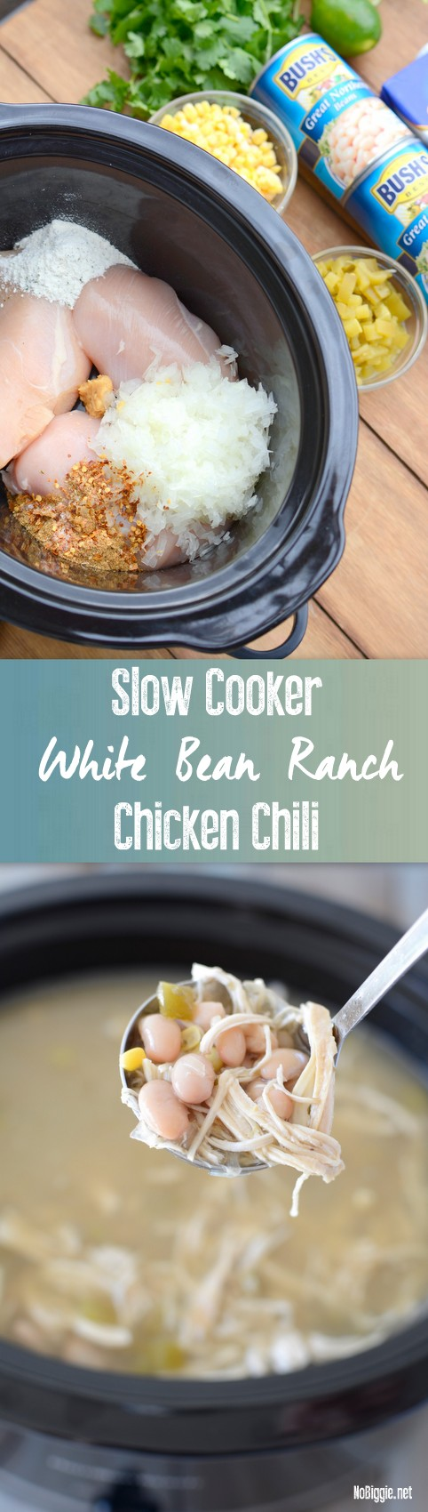 Slow Cooker White Bean Ranch Chicken Chili recipe | - so good and so easy NoBiggie.net