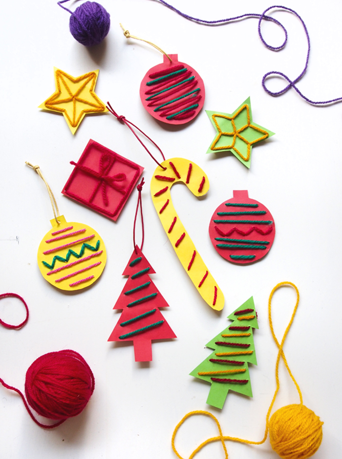Stitched paper ornaments | 25+ ornaments kids can make