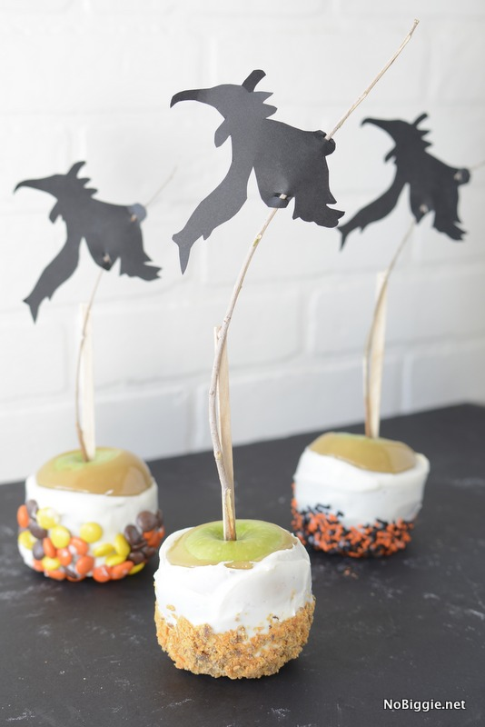 Witches in flight gourmet caramel apples - tutorial | NoBiggie.net