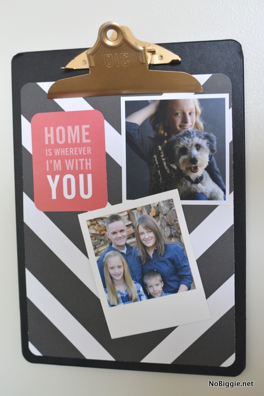clipboard photo display - such a cute way to display your images. #clipboard #photodisplay #photos #photowall #diy