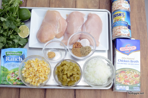 ingredients for crockpot chicken chili | this recipe is so good and so easy! | NoBiggie.net