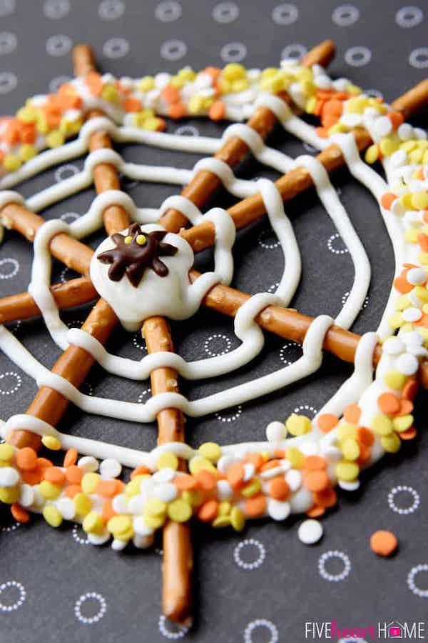 pretzel spiderwebs   25+ Halloween Party Food Ideas