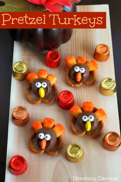 pretzel turkeys | 25+ Thanksgiving treats