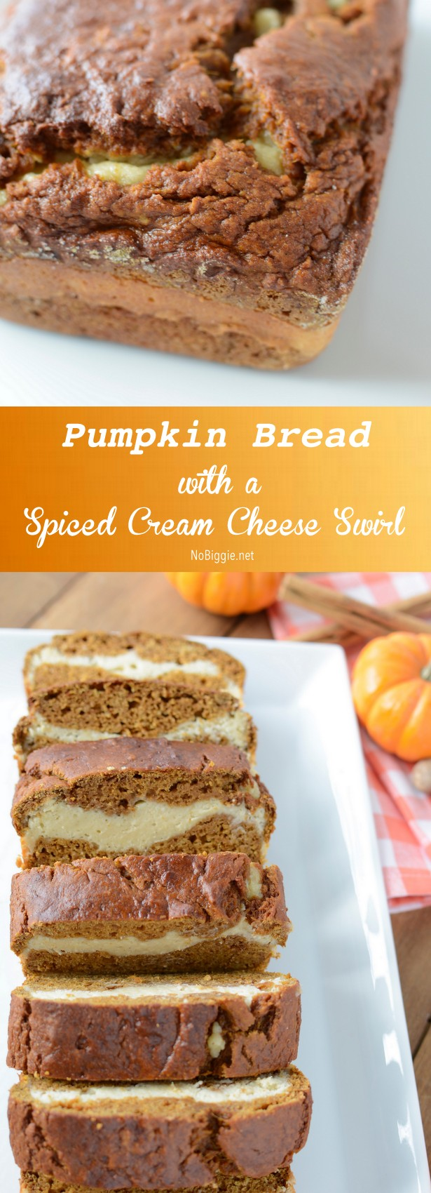 pumpkin bread with a spiced cream cheese swirl - a great twist to the classic pumpkin bread recipe we all know and love. #pumpkinbread #creamcheeseswirl #homemade #baking #falltreats #breads