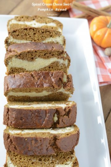 Pumpkin Bread with Spiced Cream Cheese Swirl
