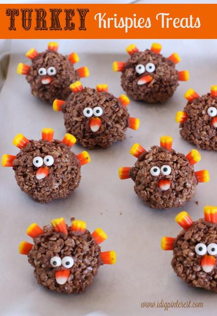 turkey krispies treats | 25+ Thanksgiving treats