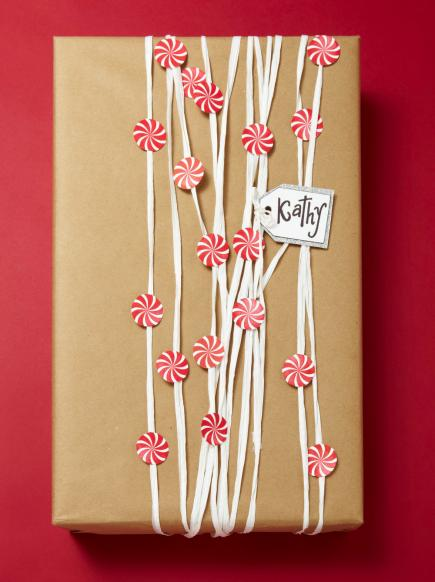 Paper Peppermint Gift Wrap | 30+ Christmas Wrapping Ideas