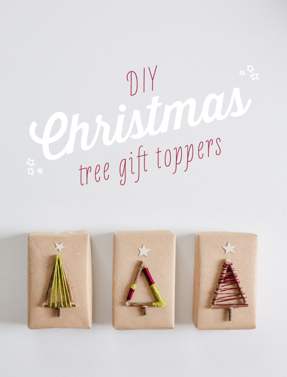 Twig Christmas tree gift toppers | 30+ Christmas Wrapping Ideas