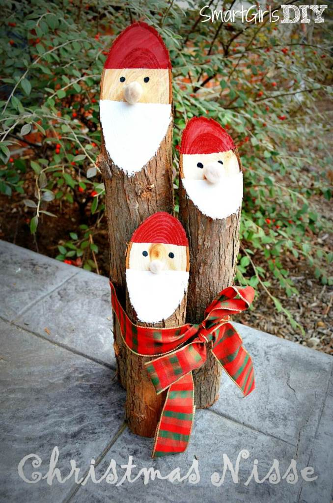 Danish Nisse Santa Logs | 25+ easy DIY Christmas decor | NoBiggie.net