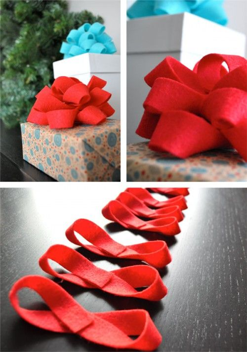 DIY Felt ribbon bow | 30+ Christmas Wrapping Ideas