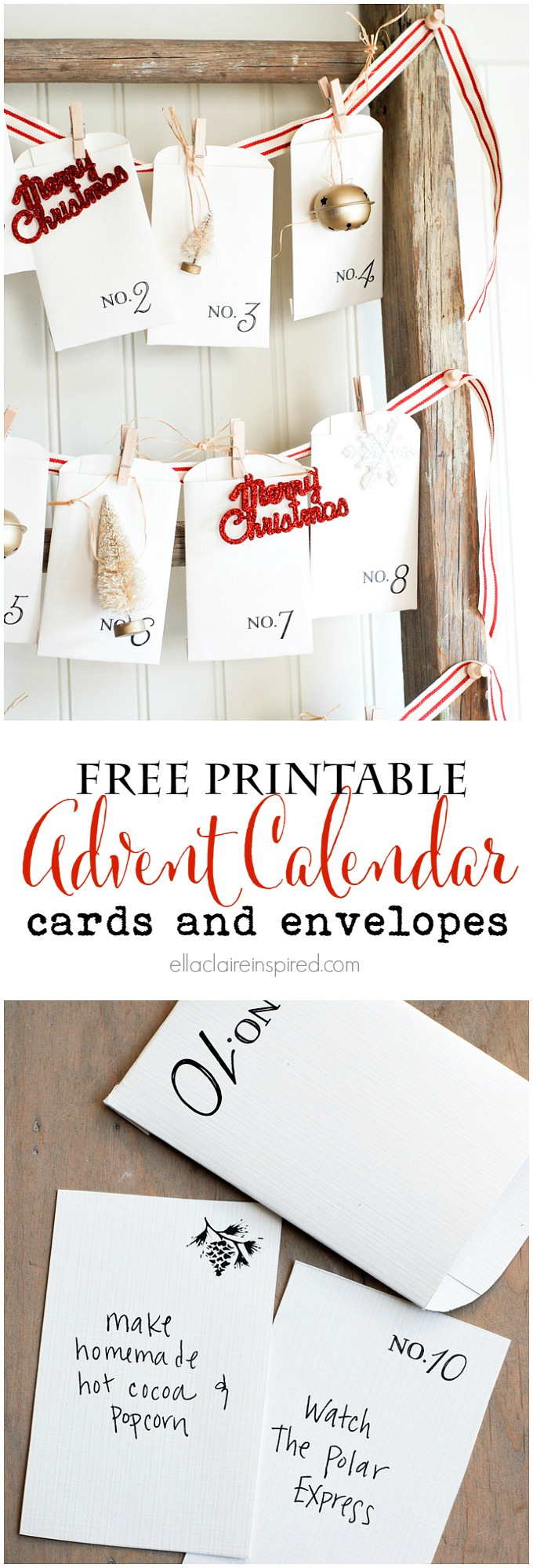 Free printable vintage Christmas advent calendar | 25+ Christmas advent calendar ideas