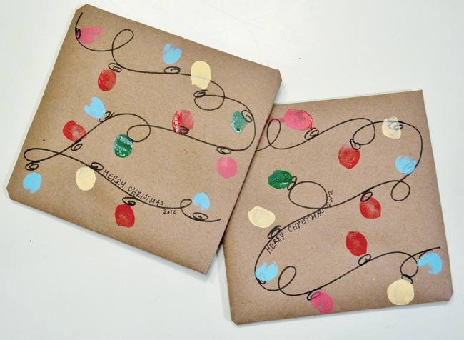 Fingerprint Christmas lights gift wrap