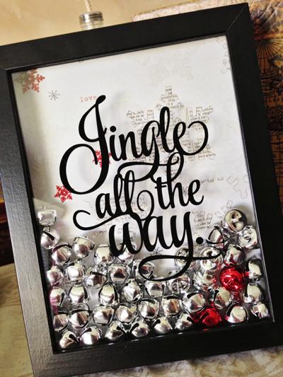 Jingle All the Way shadowbox | 25+ easy DIY Christmas decor